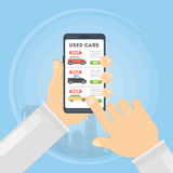 Used cars app. Stock Photos