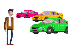 Used cars reselling concept with hands holding keys and money flat vector illustration Stock Images
