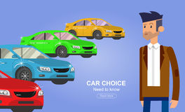 Used cars reselling concept with hands holding keys and money flat vector illustration Royalty Free Stock Image