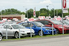 Used cars for sale. Front end of used cars for sale Royalty Free Stock Photography