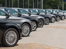 Used cars for sale. In a long row Stock Image