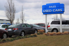 Used Cars Sales. Used cars on sales in Dealership Stock Photos