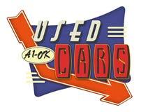 Used Cars Vintage Sign Retro. Log art poster flyer 40s 50s 60s American Automobile Dealer Mechanic vector illustration
