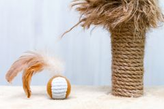 Used cat scratching post with ragged parts and toy round ball with feathers stock photo