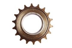 Used chain sprocket. Close-up shot of a used bicycle chain sprocket Royalty Free Stock Image