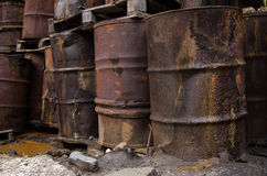 Used chemical barrels. Trash toxic royalty free stock photography