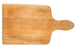 Used chopping board. Old heavily used chopping or cutting board on white background Royalty Free Stock Photography
