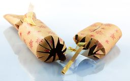 Used christmas cracker  Stock Images