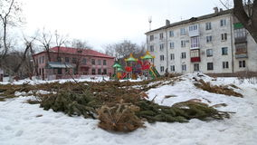 Used Christmas trees piled up in the city. Near houses in Russia stock video