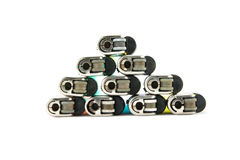 Lighters. Top view Of Used cigarette lighters royalty free stock images
