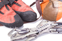 Used climbing equipment Royalty Free Stock Images