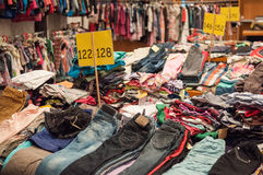 Used clothes bazaar Royalty Free Stock Image