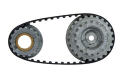 Used cogwheel with belt Stock Photo