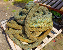 A used coil of rope. Equipment from a ship piled on a wooden pallet in the caribbean Royalty Free Stock Photos