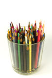 Used color pencils. In a glass Stock Images