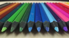 Used color pencils set, perspective dolly shot. Clip stock footage