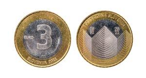 Used commemorative anniversary bimetal 3 euro € Slovenia coin Royalty Free Stock Photos