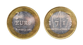Used commemorative anniversary bimetal 3 euro € Slovenia coin Royalty Free Stock Photo