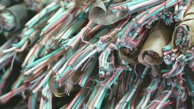 Used copper communication cable. Used old copper communication cable stock image