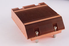 Used copper heat sink for cooling the microprocessor of the comp Stock Photo
