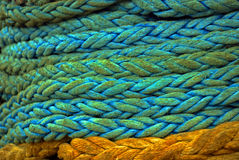 Used cord ship. Close up view of a pile of anchor ship cord blue and yellow royalty free stock image