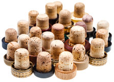 Used corks from strong drinks Royalty Free Stock Photos