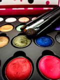 Used cosmetic cushion, eye shadow, eye liner brusher, lip, highlight, shading. Used multi-color cosmetic cushion, eye shadow, eye liner brusher, lip, highlight stock photography
