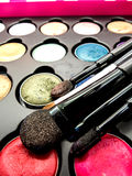Used cosmetic cushion, eye shadow, eye liner brusher, lip, highl Stock Photography