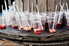 Used cups with straws Royalty Free Stock Image