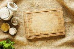 Used cutting board in country side kitchen scenery royalty free stock image