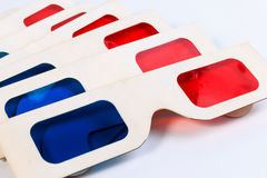 Used 3D paper glasses. Royalty Free Stock Photo