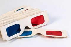 Used 3D paper glasses. Stock Photos