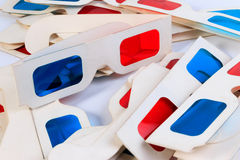 Used 3D paper glasses. Royalty Free Stock Images
