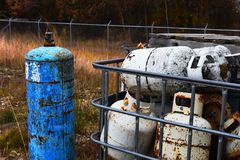 Used and Damaged Propane Tanks royalty free stock images