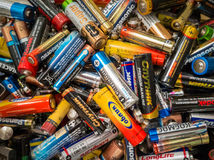 Used different size batteries Stock Image