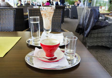 Used dirty coffee dishes Royalty Free Stock Photo
