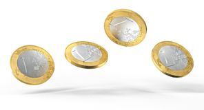 Dirty euro coin. Used and dirty euro coin 3d rendering image vector illustration