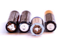 Used disposable drain batteries for recycling Stock Image
