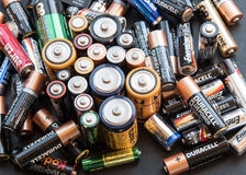 Used disposable drain batteries for recycling Stock Images
