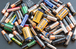 Used disposable drain batteries for recycling Royalty Free Stock Photos
