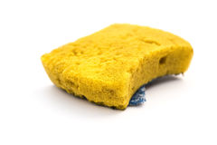 Used double-side cleaning sponge on white background Stock Photos