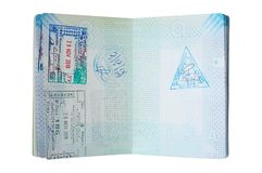 Used dutch passport with stamps royalty free stock photography