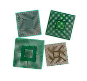 Used microchip. Used electronic microchip on white background with path Stock Photography