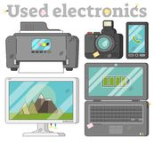 Used electronics collection, vector illustration set. Used electronics set with printer, photo camera, mobile phone, desktop monitor and old laptop illustrations Royalty Free Stock Image