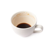 Used empty cup of coffee isolated Royalty Free Stock Image