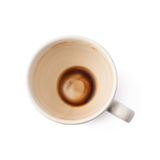 Used empty cup of coffee isolated Stock Photos