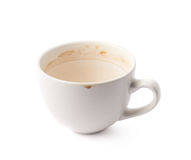 Used empty cup of coffee isolated Stock Photography