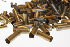 Used empty old bullet cartridges. A lot of Used empty old bullet cartridges Royalty Free Stock Photos