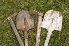 Used farm hand implements stock photos