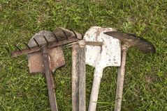 Used farm hand implements Stock Image